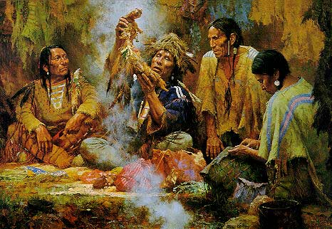 'Opening the Sacred Bundle' Painting by Howard Terpning